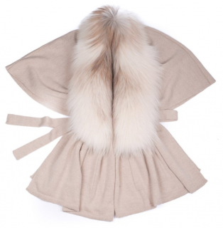 FurbySD Beige Knit Cardigan with Fox Fur Removable Collar