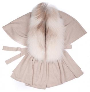 FurbySD Beige Knit Cardigan with Fox Fur Removable Collar