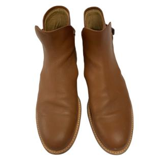Dior Men's Tan Leather Ankle Strap Boots