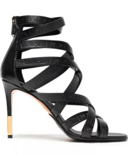 Balmain Black Leather Logo Crossover Strap Sandals