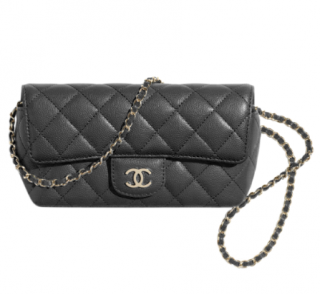 Chanel Black Caviar Calfskin Glasses Case with Classic Chain GHW
