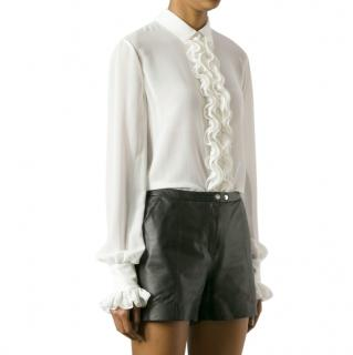 Saint Laurent Ivory Ruffled Silk Blouse