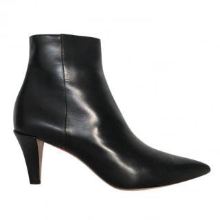 Giorgio Armani Glossy Black Leather Ankle Boots