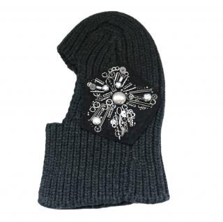 Prada Grey Ribbed Wool & Cashmere Embellished Hat/Balaclava
