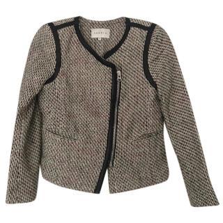 Sandro Leather Trimmed Tweed Jacket