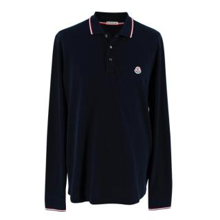Moncler Black Cotton Long Sleeve Polo Shirt