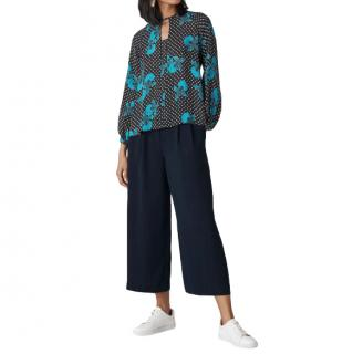 Whistles Navy Wide Leg Cropped Trousers