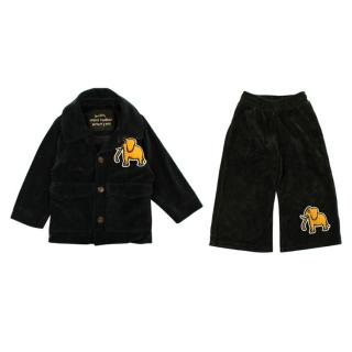 Mini Rodini Corduroy Button Down Jacket & Trousers with Elephant Patch