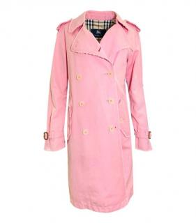 Burberry Pale Pink Linen Blend Trench Coat
