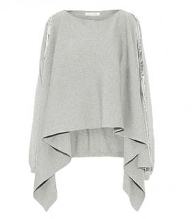 Oscar De La Renta Grey Sequin Trim Wool Cape Jumper