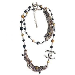 Chanel Multi-Chain Embellished CC Necklace