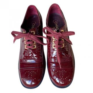 Chanel Red Patent Leather Lace-Up Brogues