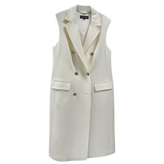 Escada Ivory Tailored Wool Sleeveless Jacket