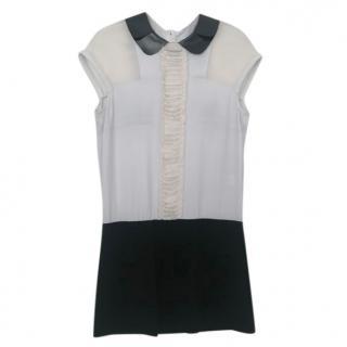 Maje Sheer Panelled Leather Collar Mini Dress