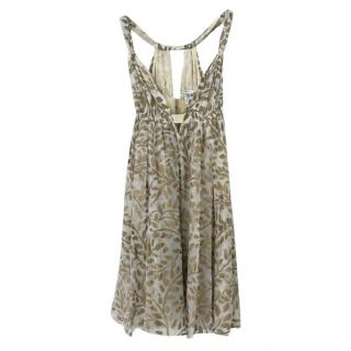 DVF white & gold printed silk sun dress