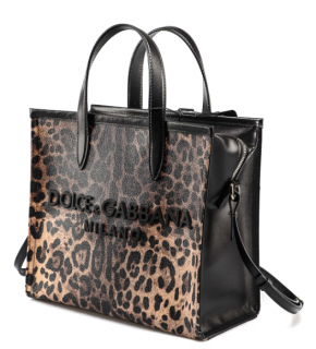 Dolce & Gabbana Leopard Print Market Tote Bag