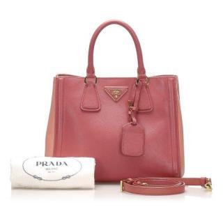 Prada Pink Two-Tone Saffiano Leather Tote Bag