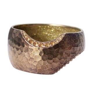 Chanel Hammered Bronze Tone Embellished Cuff