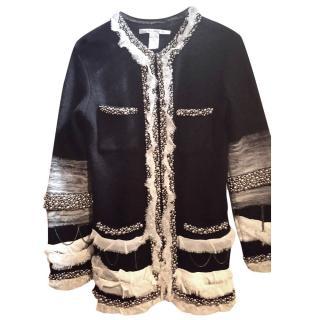 DVF Black Faux Pearl Embellished Chiffon Trim Cardigan
