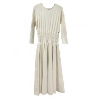 Chanel Ivory Wool Knit Pleated Dress