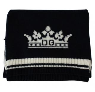 Dolce & Gabbana Blue & White Cashmere Crown Intarsia Scarf