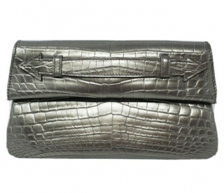 Ethan K Pewter Grey Crocodile Leather Clutch