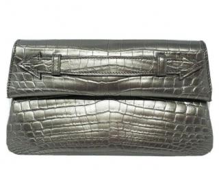 Ethan K Pewter Grey Crocodile Leather Clutch
