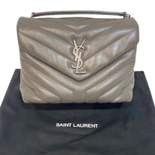 Saint Laurent Grey Quilted Loulou Shoulder Bag