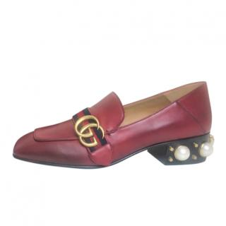 Gucci Red Faux Pearl Heel Peyton Loafers