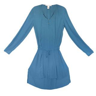 DVF Blue Crepe Sliced Dress