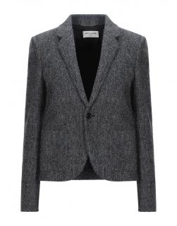 Saint Laurent Chevron Wool Grey Tailored Jacket