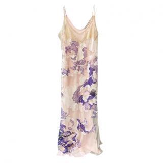 Roberto Cavalli Multicoloured Floral Lace Trimmed Slip Dress