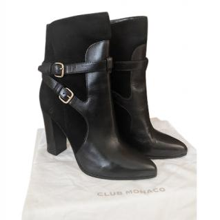 Club Monaco Black Leather & Suede Heeled Boots