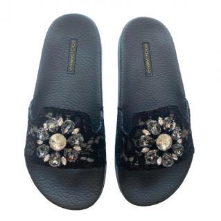 Dolce & Gabbana Black Lace Crystal Slides