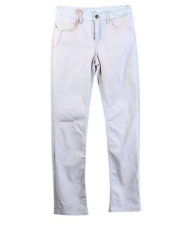 Chanel Contrast Multicolour Stitch White Straight Leg Jeans