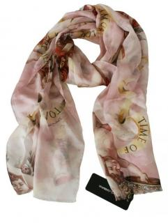 Dolce & Gabbana Pink Cherub Print Silk Scarf