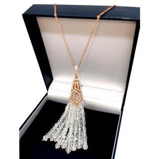 William & Son 18ct White Gold Diamond & Rock Crystal Tassel Pendant
