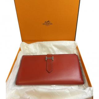 Hermes Red Chevre Leather Bearn Wallet