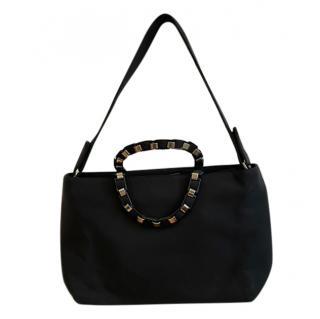 Ferragamo Black Canvas Studded Handle Shoulder Bag
