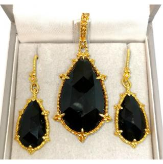 Judith Ripka 18ct Yellow Gold Onyx & Diamond Earrings & Pendant
