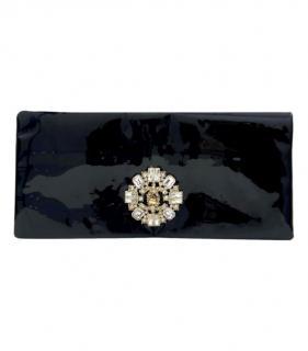 Chanel Black Crystal Embellished Patent Leather Clutch