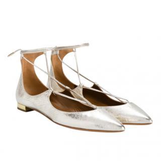 Aquazzura Gold Christy Ballet Flats
