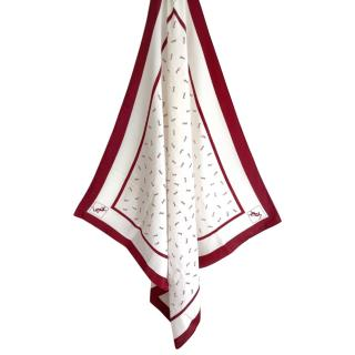 Saint Laurent Monogram Red/White Silk Scarf