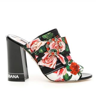 Dolce & Gabbana Rose Print Crystal Embellished Mules
