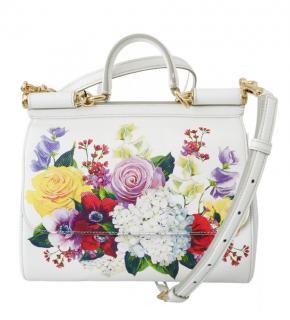 Dolce & Gabbana Hydrangea Rose printed SICILY Bag.