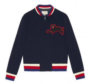 Gucci Blue Panther Patch Bomber Jacket