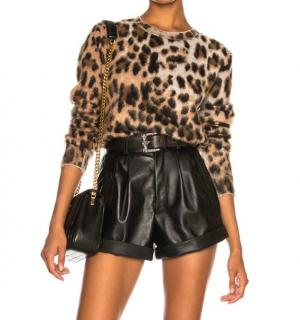 Saint Laurent Leopard Print Mohair Blend Jumper