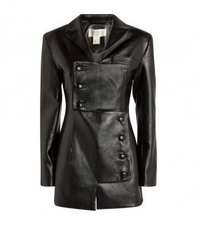 Materiel Tibilisi Black Leather Asymmetric Button Jacket