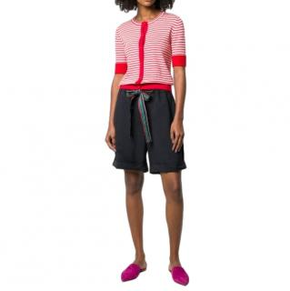 Chinti & Parker Red & Pink Striped Short Cardigan