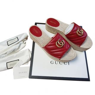 Gucci Red Leather Marmont Esapdrille Wedges
